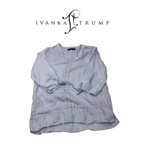 Ivanka Trump Blue Studded Top. Sz S